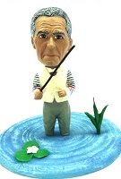 Male fisherman inside the water custom bobble head doll Premium