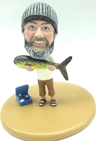 Male fisherman holding a huge fish custom bobble head doll Premium