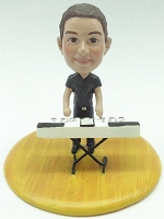 Male keyboard player custom bobble head doll Premium