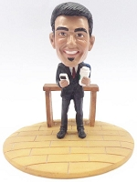 Male with phone and coffee custom bobble head doll Premium