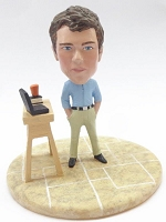 Male casual with work station custom bobble head doll Premium