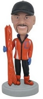 Skier custom bobble head doll