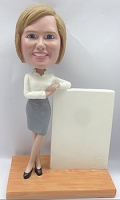 Casual business woman, leaning on a sign custom bobblehead