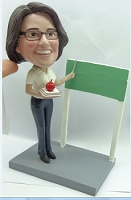 Female Teacher with book/apple and board custom bobble head doll Premium