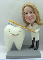 Dentist or hygenist brushing a Big Happy Tooth Custom bobblehead Premium