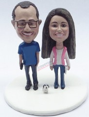 Custom Snow Globe | Male And Female Couple With Small Dog
