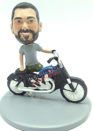 Custom Snow Globe | Male Standing Next To Motorcycle