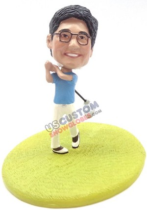 Custom Snow Globe | Male Golfer Teeing Off
