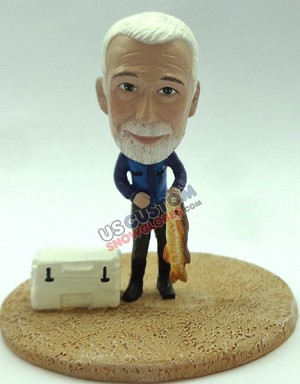 Custom Snow Globe | Male Fisherman With A Cooler And Fish