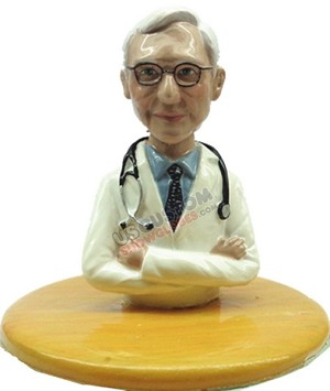 Custom Snow Globe | Male Doctor With Stethoscope Sitting At Desk