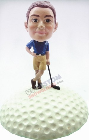 Custom Snow Globe | Male Golfer Leaning On Club With Golf Ball