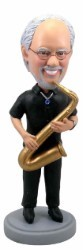 Saxophone custom bobble head doll