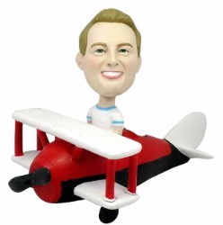 Man in Bi-plane custom bobble head doll