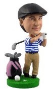 Golfer with bag custom bobble head doll