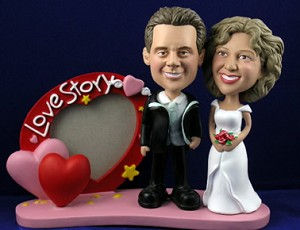 Sporty love story frame with couple personalized bobble head doll