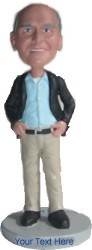 Business casual with jacket and hands on sides custom bobble head doll