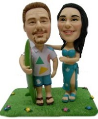 Hawaiian couple custom bobble head doll