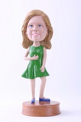 Girl with dress custom bobble head doll Premium