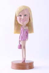 Girl with hand bag custom bobble head doll Premium