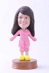 Girl in bathrobe custom bobble head doll Premium