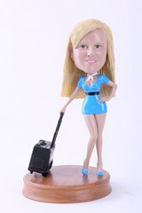 Girl with suitcase custom bobble head doll Premium