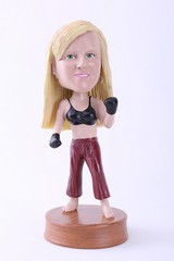 Girl kick boxer custom bobble head doll Premium