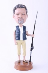 Man fisherman with fishing pole custom bobble head doll