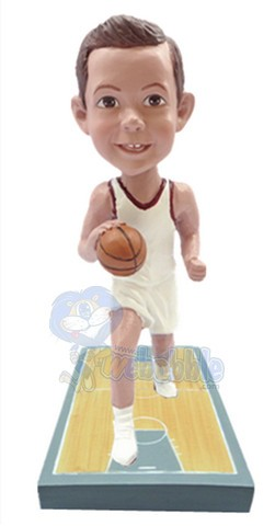Basketball Player on a premium base court custom bobble head doll 3