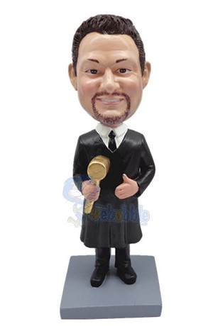 Judge holding gavel custom bobble head doll