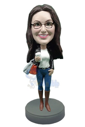 Shopping Girl with coffee custom bobble head doll 4