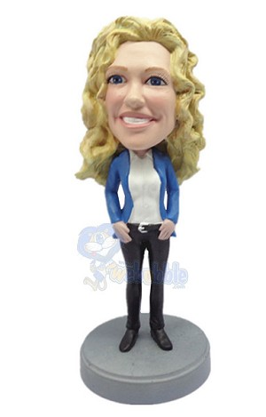 Girl with her arms down custom bobble head doll