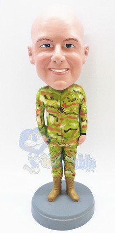 Military custom bobble head doll standing with his arms down