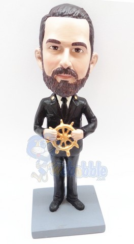 Captain steering his ship personalized bobble head doll