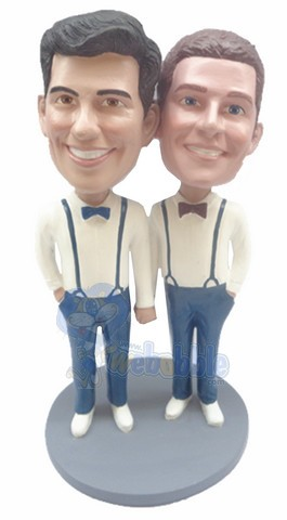 Same Sex Male couple custom bobble head doll 3
