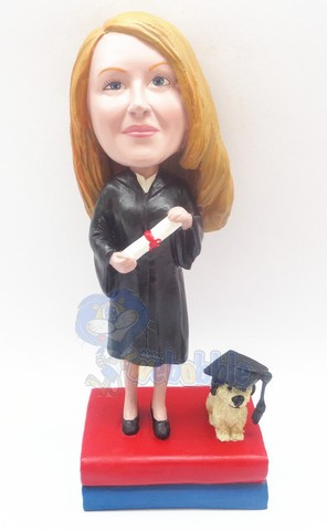 Graduation Female custom bobble head doll with a dog on the base