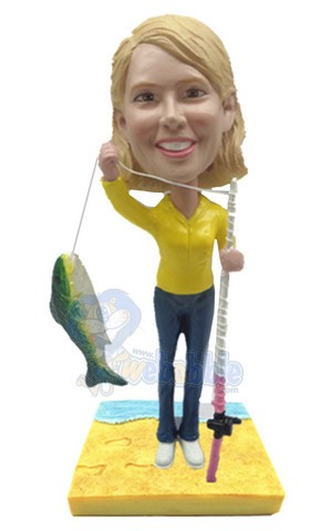 Female fisherman with fishing pole and fish custom bobble head doll