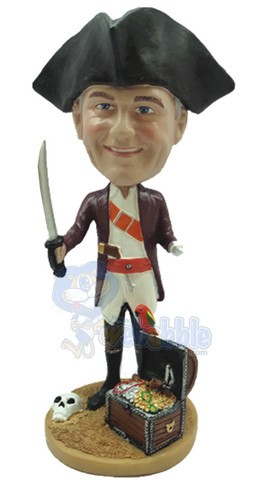 Male pirate with treasure custom bobble head doll Premium