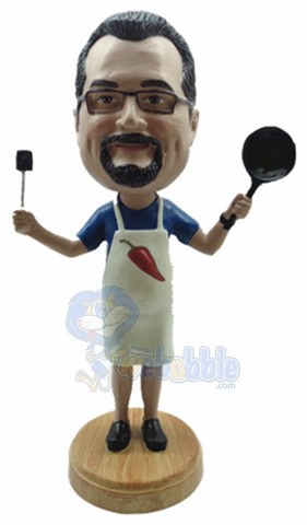 Male cook with pan and spatula personalized bobble head doll Premium
