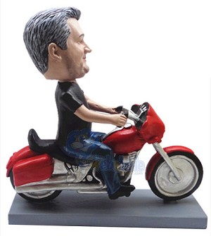 Male sitting on a motorcycle 2 custom bobble head doll Premium