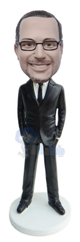Hands In Pockets Suit Wearing Man bobble head doll