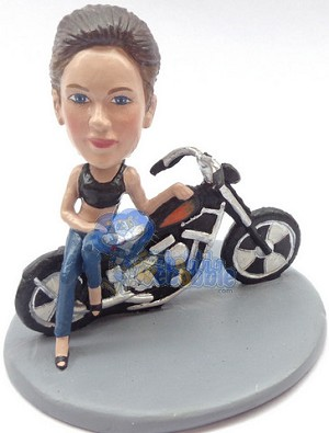 Girl leaning sexy on a motorcycle custom bobble head doll Premium