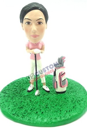 Golfer woman personalized snow globe