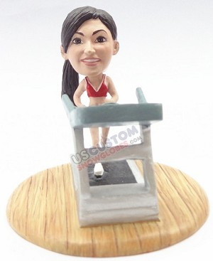 Female running on a treadmill personalized snow globe