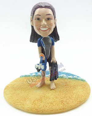 Female snorkel custom bobble head doll Premium 2