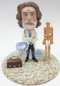 Doctor with medical bag and a skeleton custom bobble head doll Premium