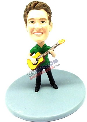 Male playing an acoustical guitar personalized snow globe