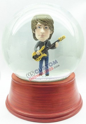 Male playing guitar personalized snow globe