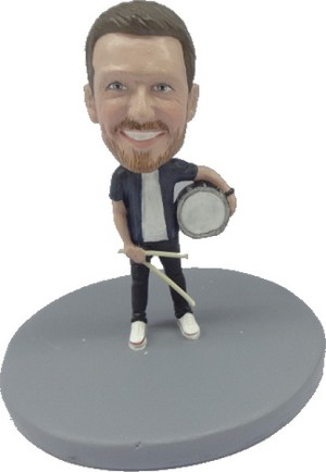 Male single drum player personalized snow globe