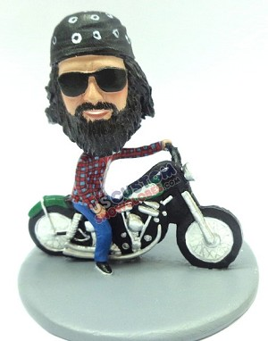 Male sitting on a motorcycle custom bobble head doll Premium