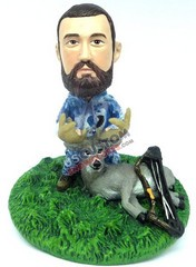 Male hunter with deer and bow custom bobble head doll Premium